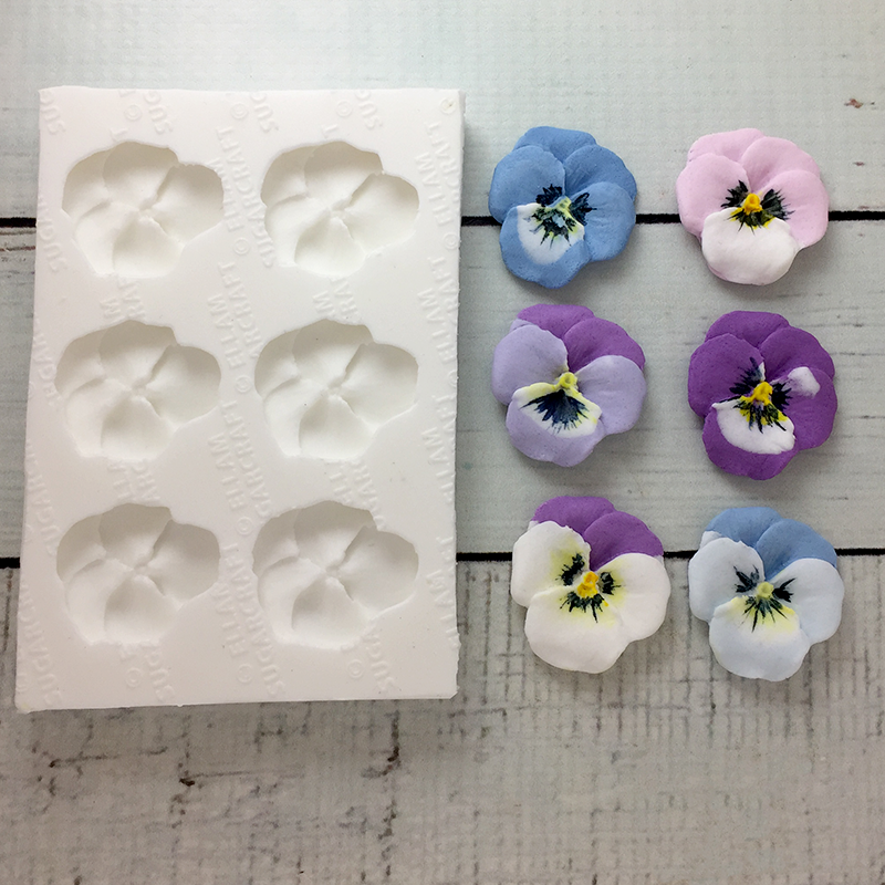 6 cavity pansy/viola food safe silicone mould for fondant, cake,craft