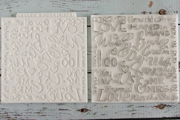 Wedding Word Cloud Silicone Texture Embossing Mat Mould - Ellam Sugarcraft Moulds For Fondant Or Chocolate