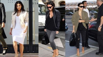 Kim Kardashian Bomber Jacket, Neutral, Black and Khaki