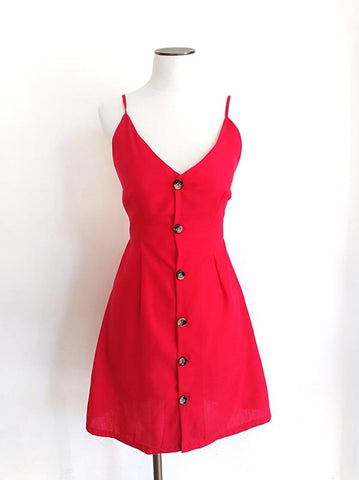 CHERRY RED CUT OUT BACK MINI DRESS