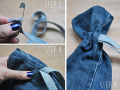 Drawstring trick with a safety pin
