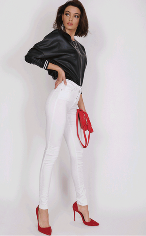 Gelato Legs - White Skinny Leg Jeans by Refuge Denim HIGH WAIST