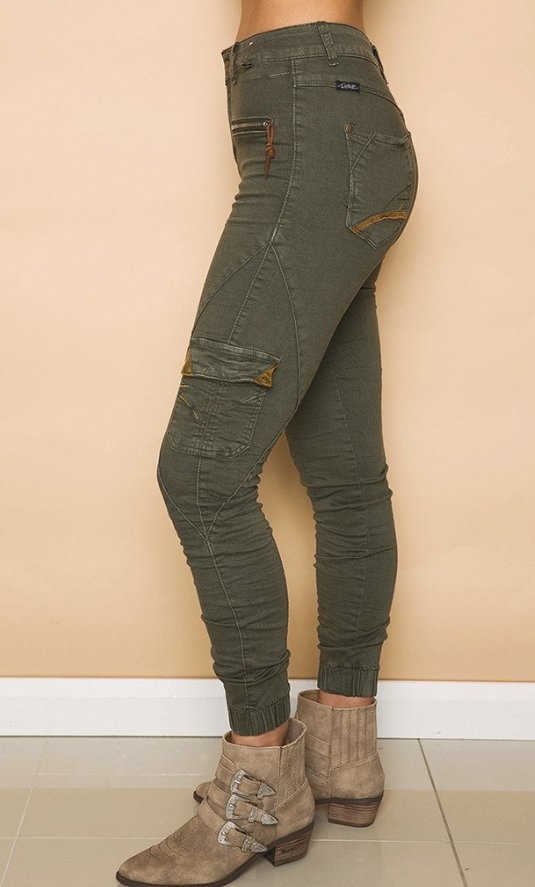 Refuge Denim Super Soft Cargo Jogger Jean in Khaki 7/8 - High Waist