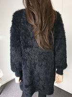 Davina Fluffy Knit Cardigan Bishop Sleeve in BLACK by HQ