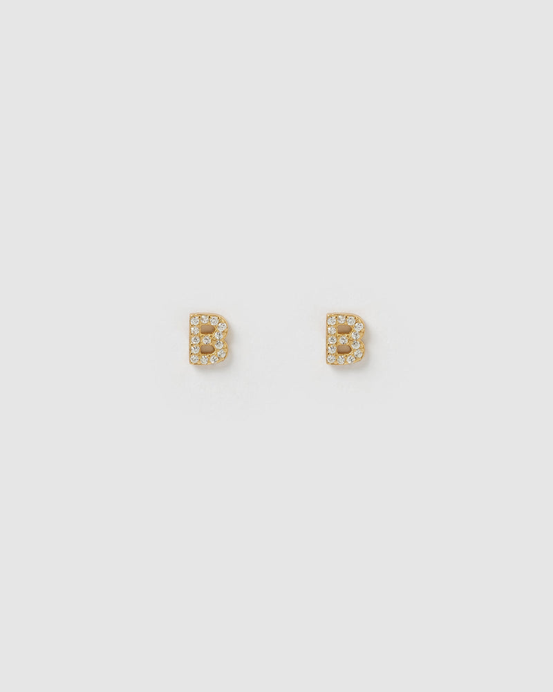 Load image into Gallery viewer, Izoa Alphabet Mini Letter B Stud Earrings Gold