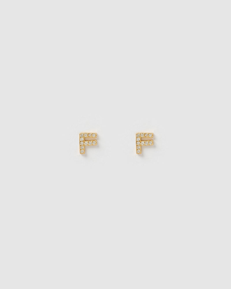 Izoa Alphabet Mini Letter F Stud Earrings Gold