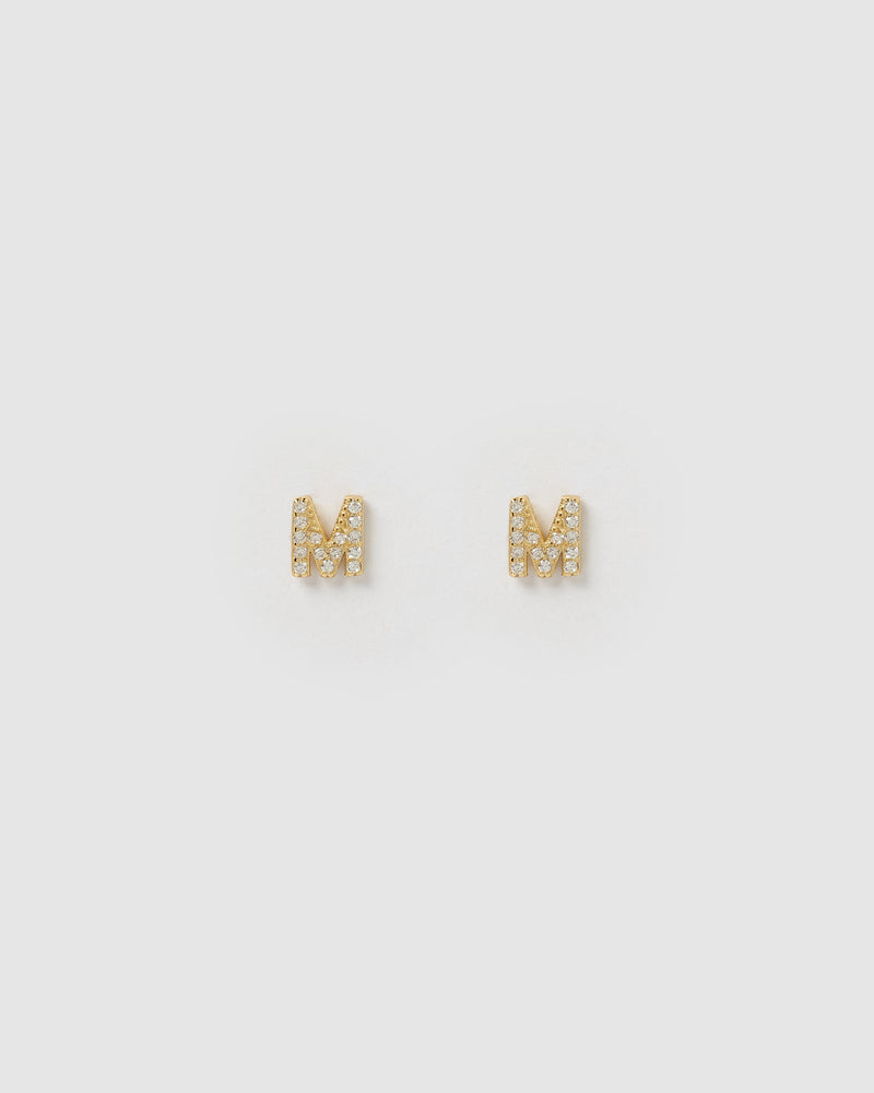 Load image into Gallery viewer, Izoa Alphabet Mini Letter M Stud Earrings Gold