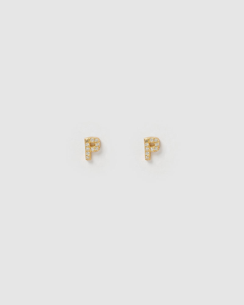 Izoa Alphabet Mini Letter P Stud Earrings Gold