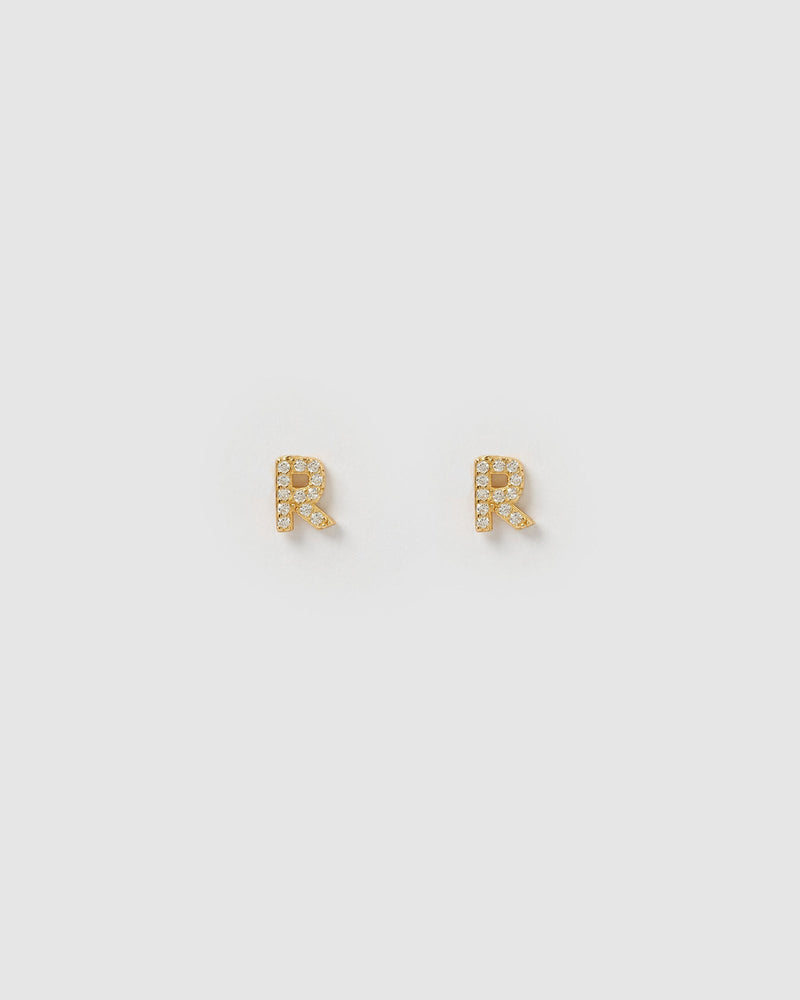 Izoa Alphabet Mini Letter R Stud Earrings Gold