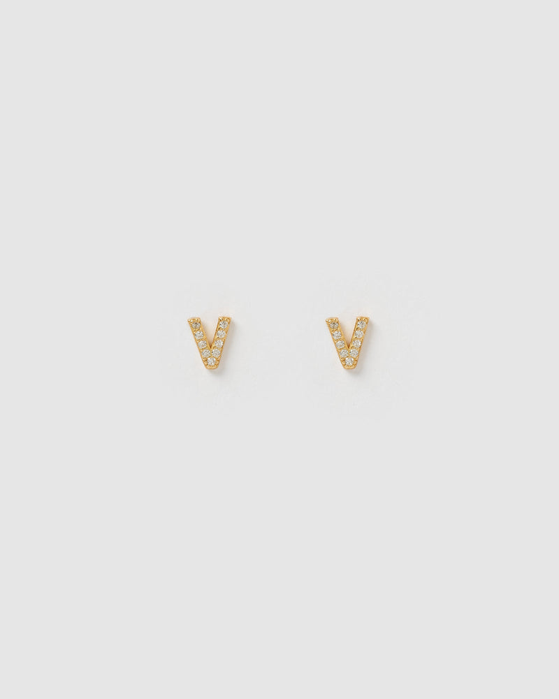 Izoa Alphabet Mini Letter V Stud Earrings Gold