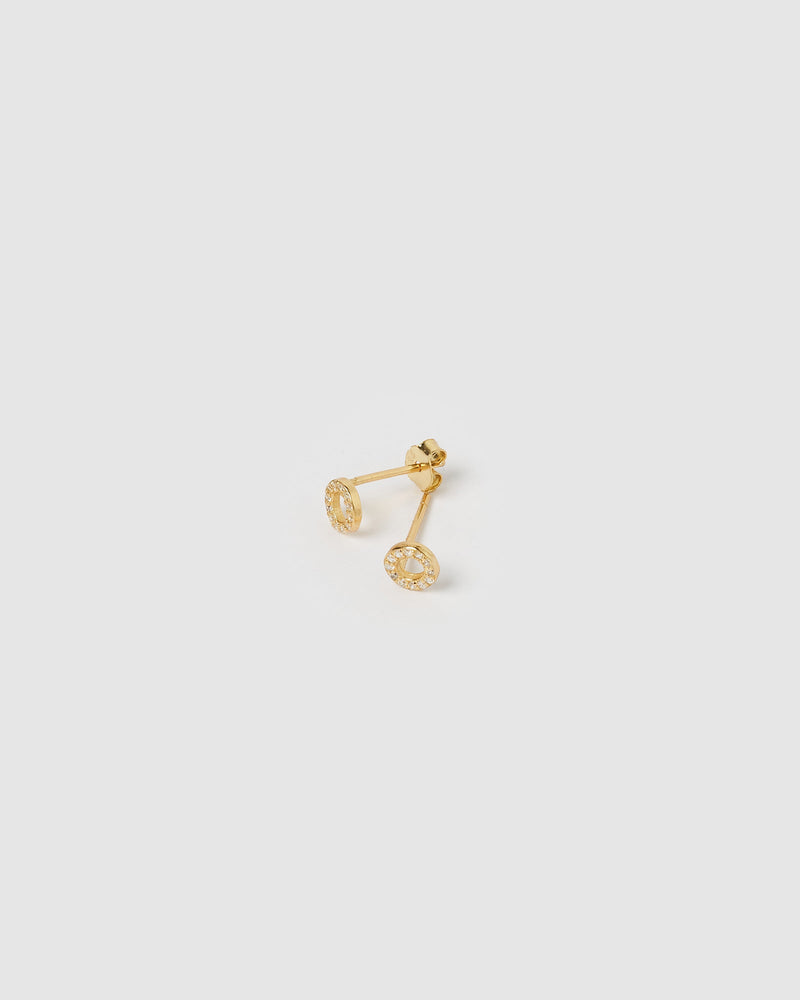 Load image into Gallery viewer, Izoa Alphabet Mini Letter O Stud Earrings Gold