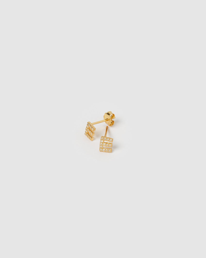 Izoa Alphabet Mini Letter E Stud Earrings Gold