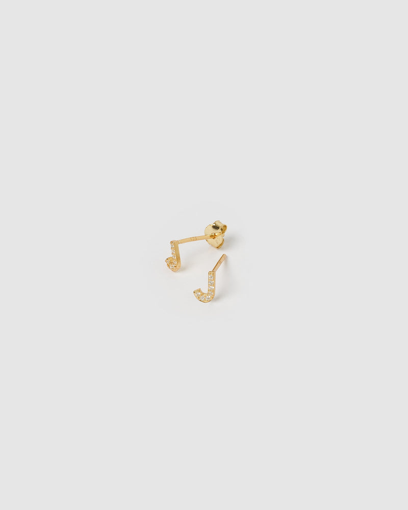 Load image into Gallery viewer, Izoa Alphabet Mini Letter J Stud Earrings Gold