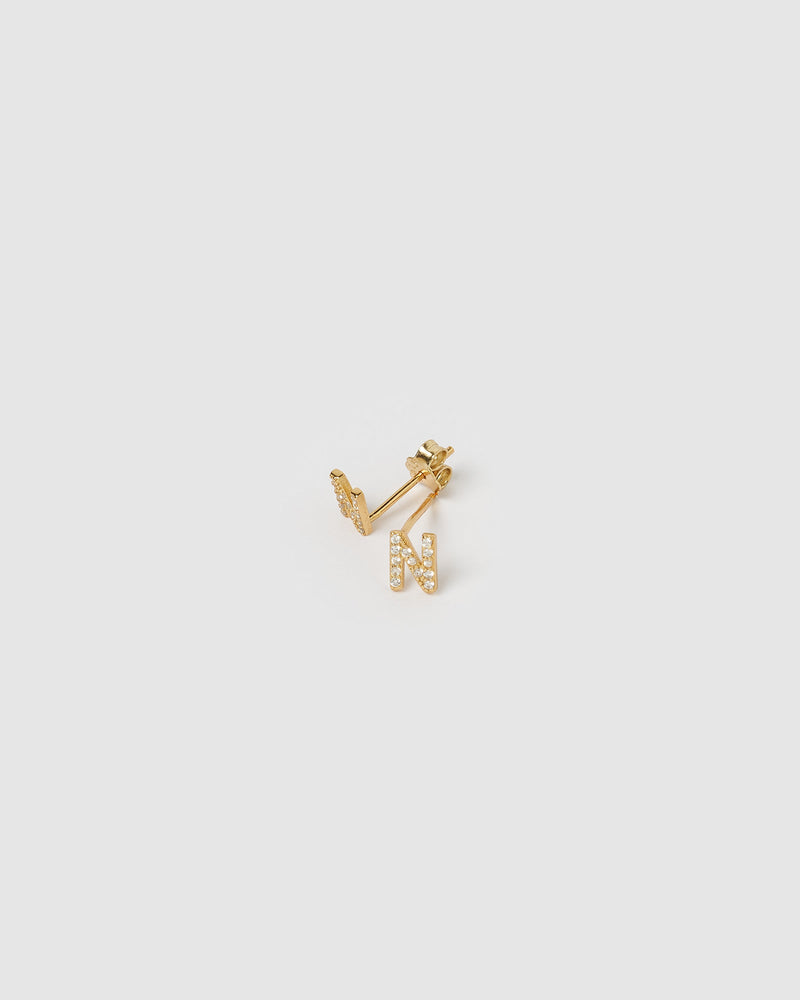 Izoa Alphabet Mini Letter N Stud Earrings Gold