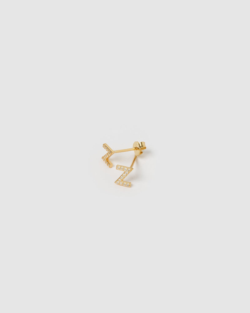 Izoa Alphabet Mini Letter Z Stud Earrings Gold