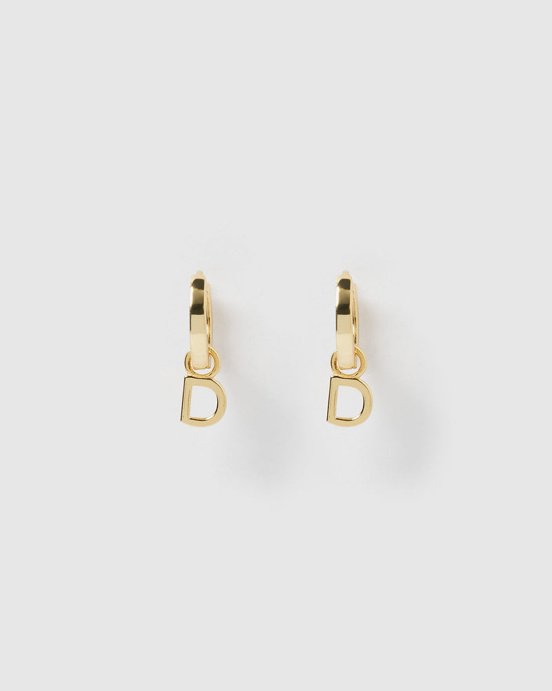 Load image into Gallery viewer, Izoa Alphabet Letter D Huggie Earrings Gold