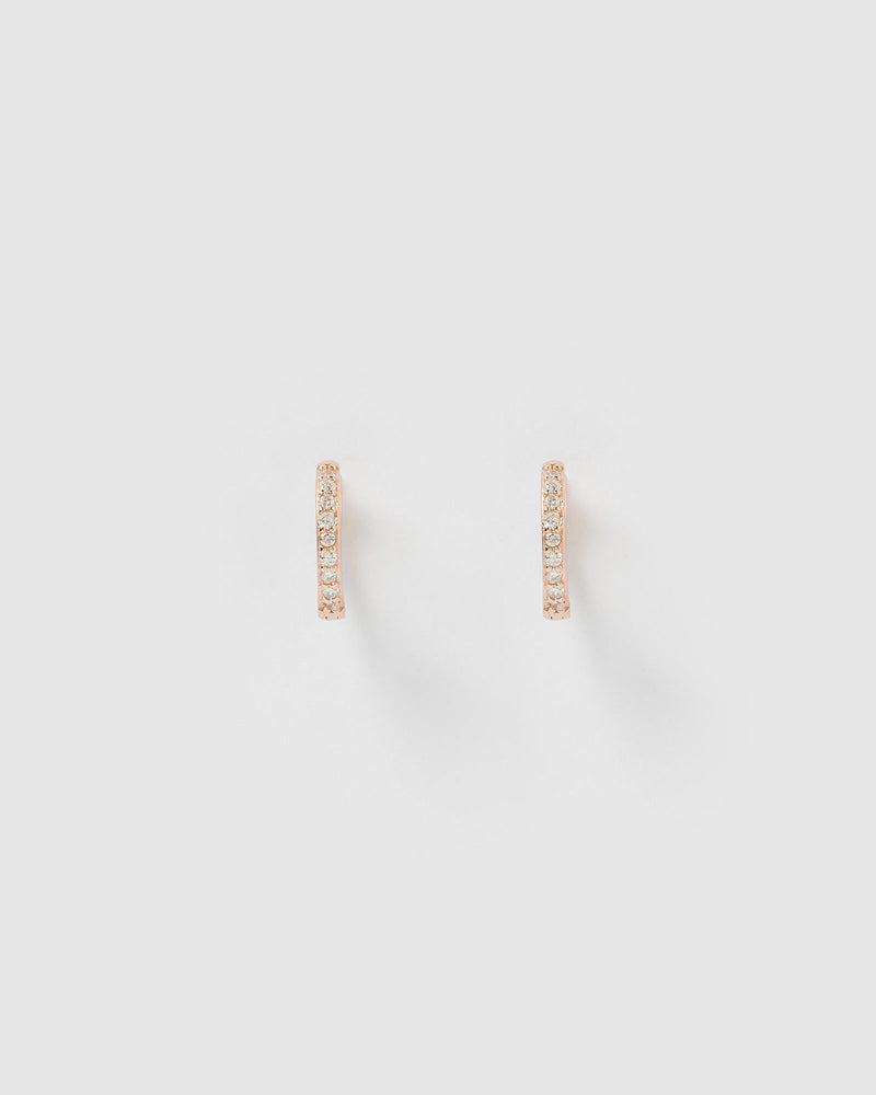 Load image into Gallery viewer, Izoa Remi Huggie Earrings Rose Gold