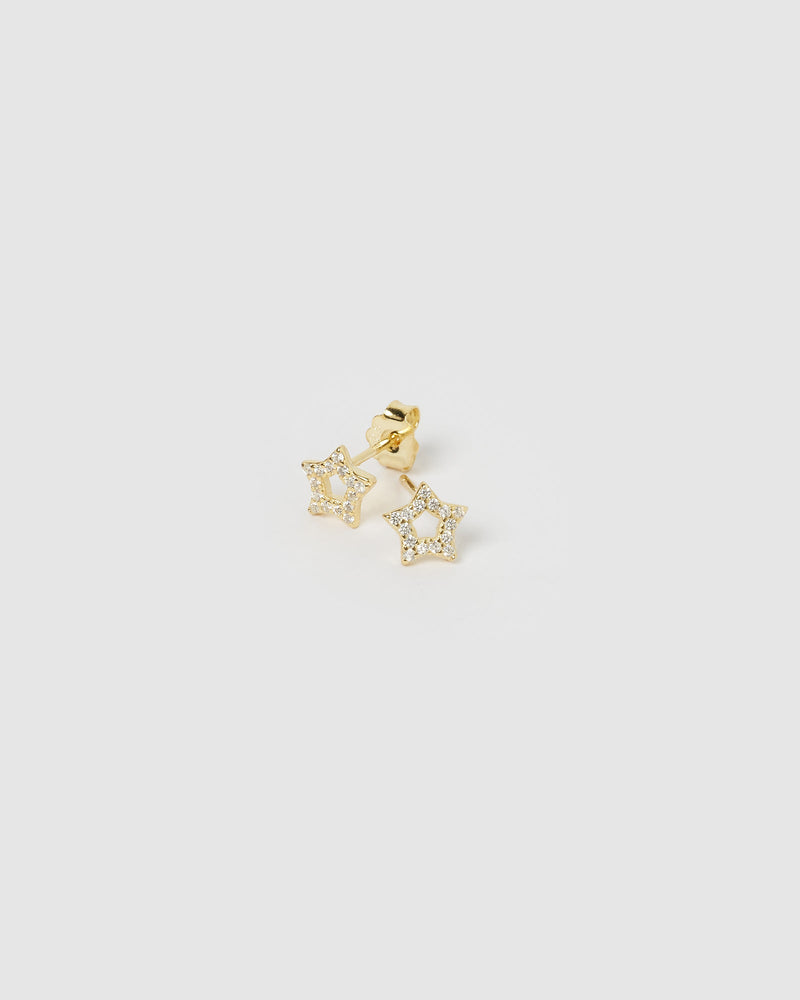 Load image into Gallery viewer, Izoa Roro Star Earrings Gold