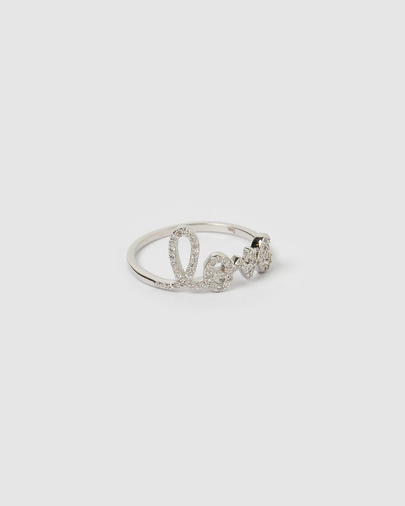 Load image into Gallery viewer, Izoa LOVE Crystal Ring Silver