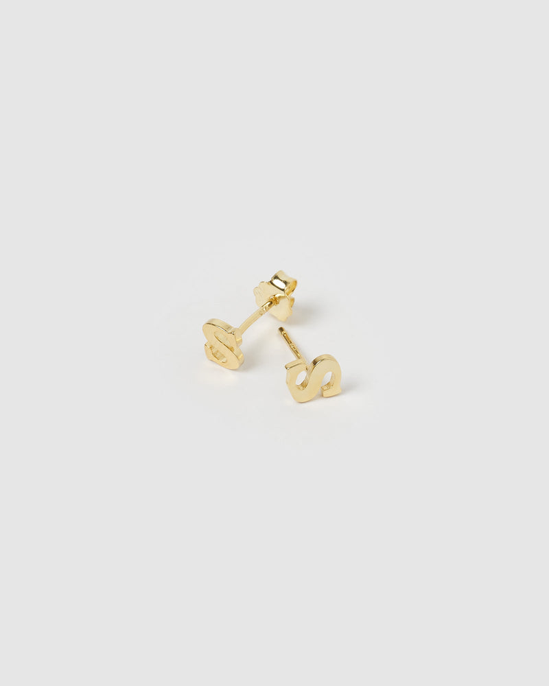 Little Letter S Stud Earrings Gold