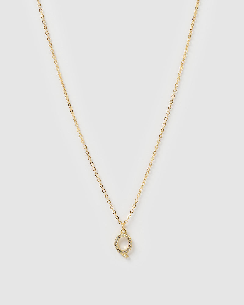 Load image into Gallery viewer, Izoa Crystal Letter Q Necklace Gold
