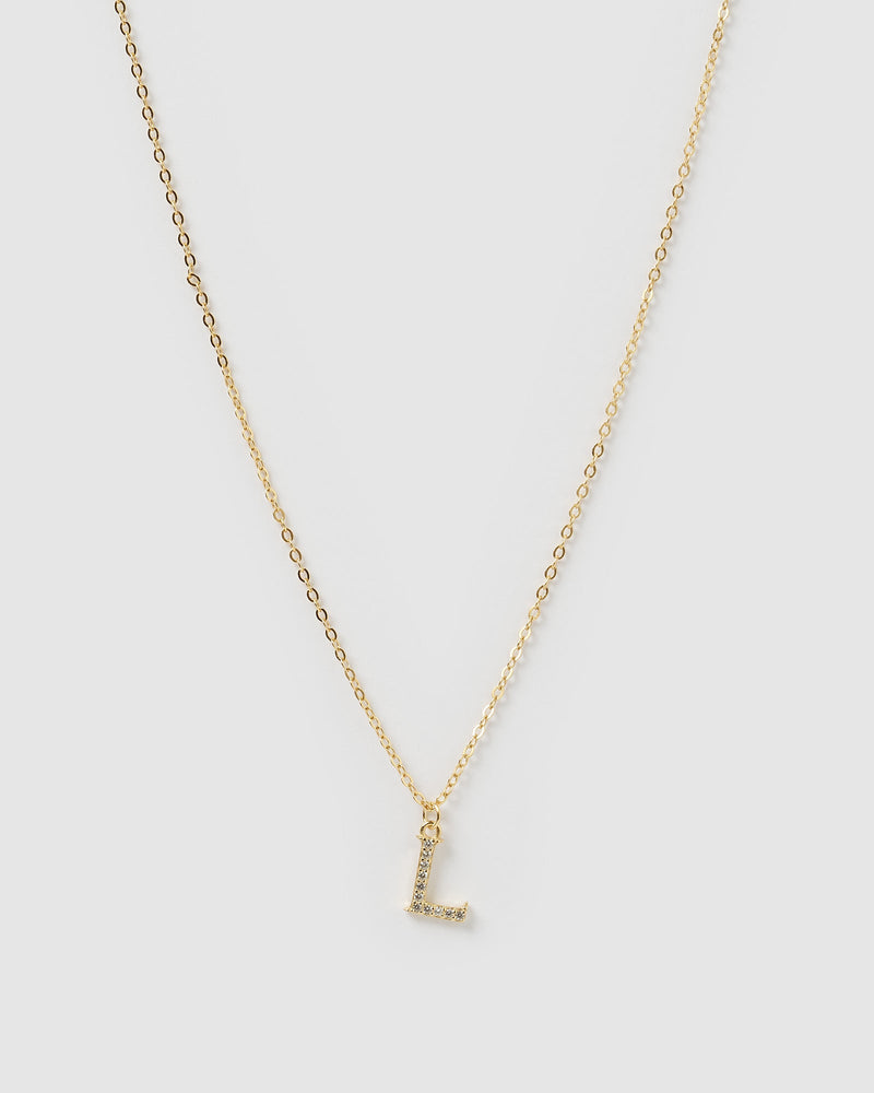Load image into Gallery viewer, Izoa Crystal Letter L Necklace Gold
