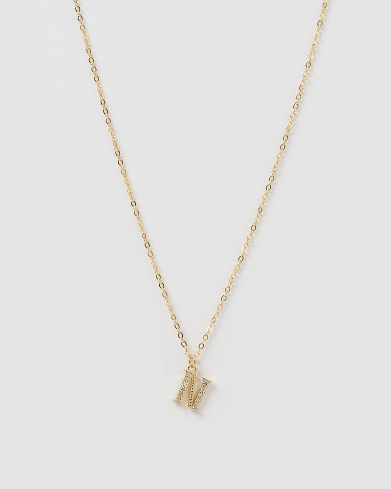 Load image into Gallery viewer, Izoa Crystal Letter N Necklace Gold