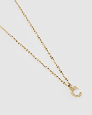 Load image into Gallery viewer, Izoa Crystal Letter C Necklace Gold