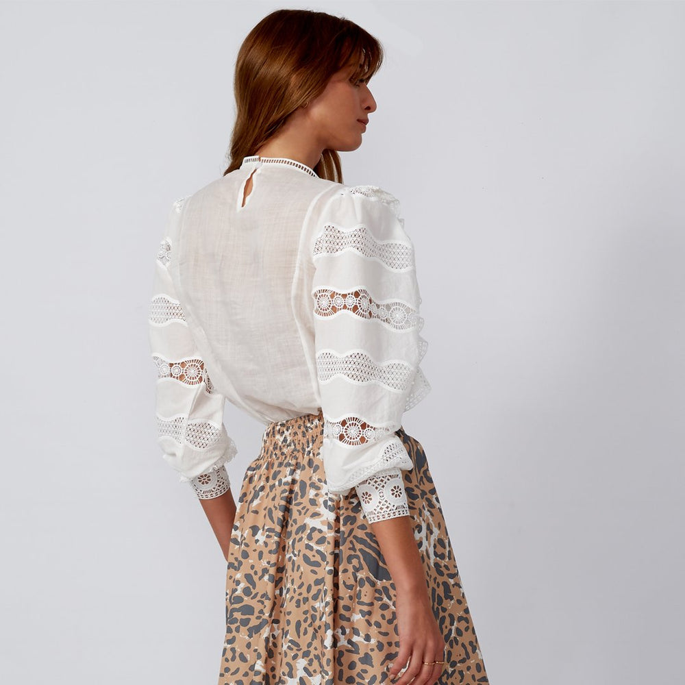 BELLA White Linen and Lace Top