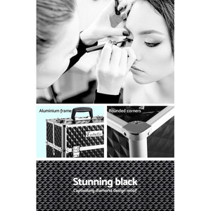 Load image into Gallery viewer, Embellir Portable Cosmetic Beauty Makeup Case - Diamond Black