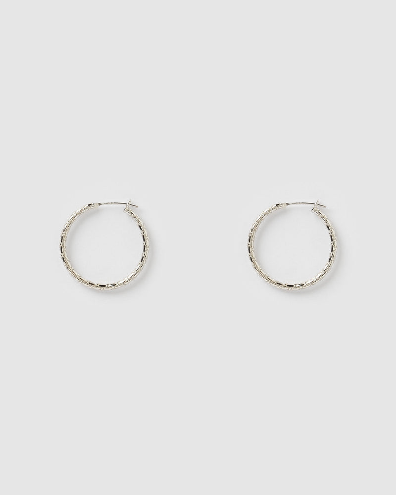 Izoa Emi Rope Hoop Earrings Silver