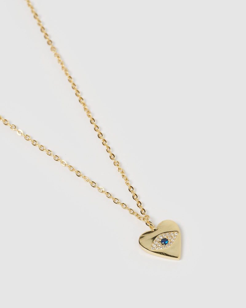 Load image into Gallery viewer, Izoa Emilia Evil Eye Heart Pendant Necklace Gold Crystal