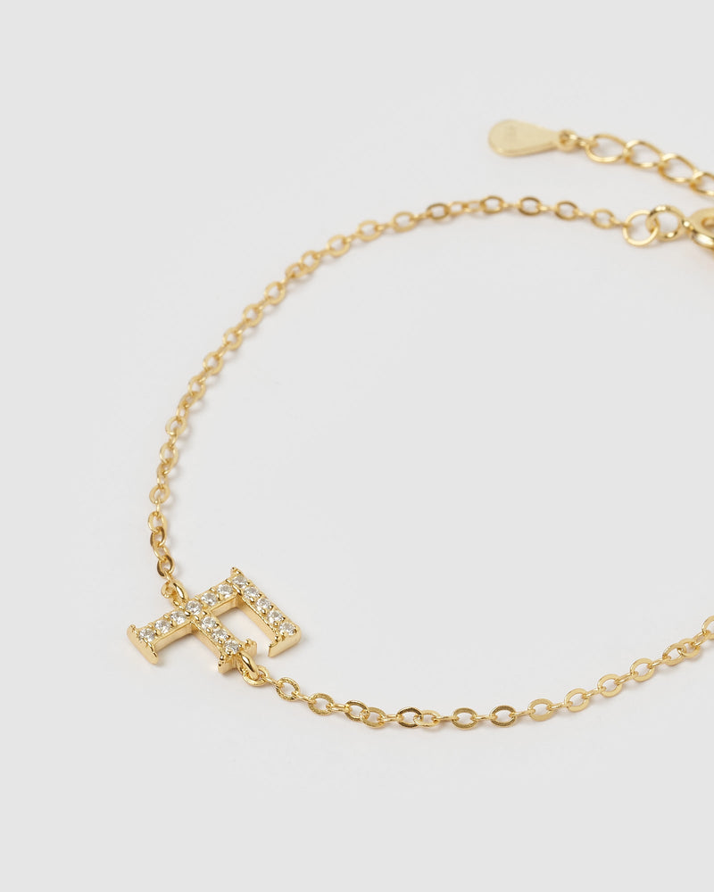 Load image into Gallery viewer, Izoa Crystal Letter F Bracelet Gold