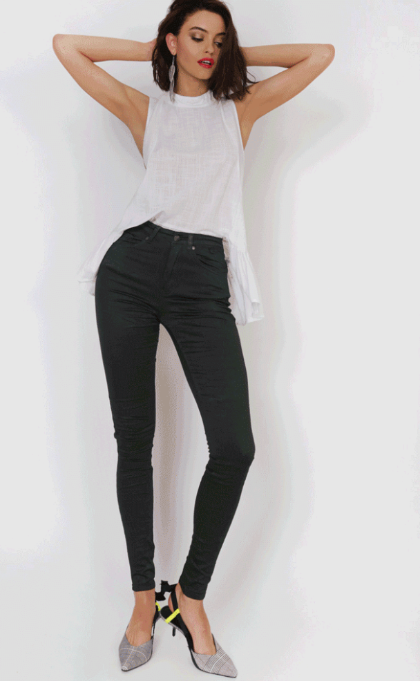 Refuge Khaki Denim Jeans - High Waisted Gelato Legs