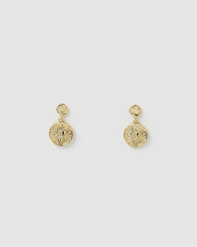 Izoa Gypsy Drop Stud Earrings Gold