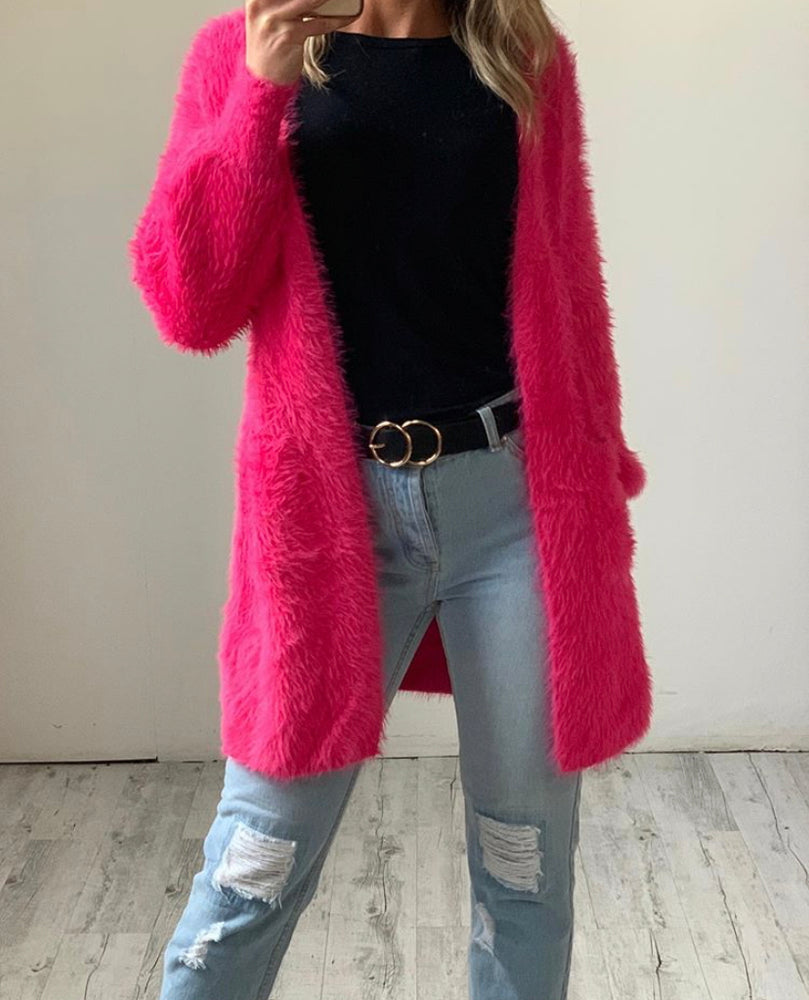 Davina Fluffy Knit Cardigan Bishop Sleeve in HOT PINK by HQ