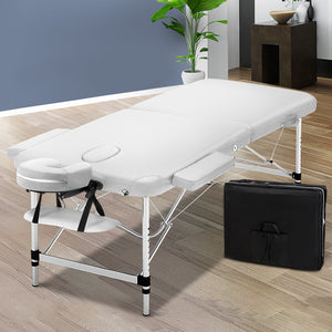 Zenses 75cm Wide Portable Aluminium Massage Table Two Fold Treatment Beauty Therapy White