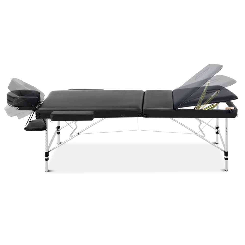 Load image into Gallery viewer, Zenses 3 Fold Portable Aluminium Massage Table - Black
