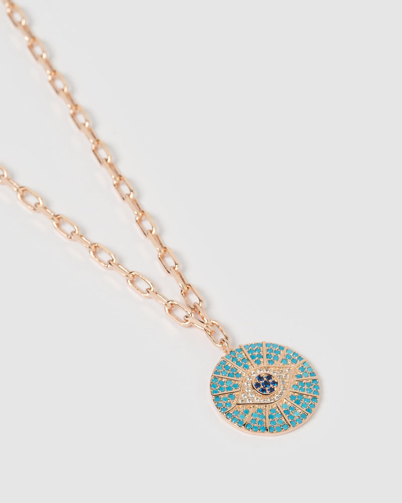 Izoa Marina Eye Necklace Rose Gold