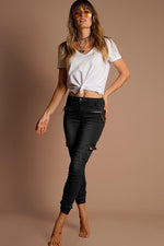 Refuge Super Soft Cargo Jogger Jean in Black - High Waist 7/8