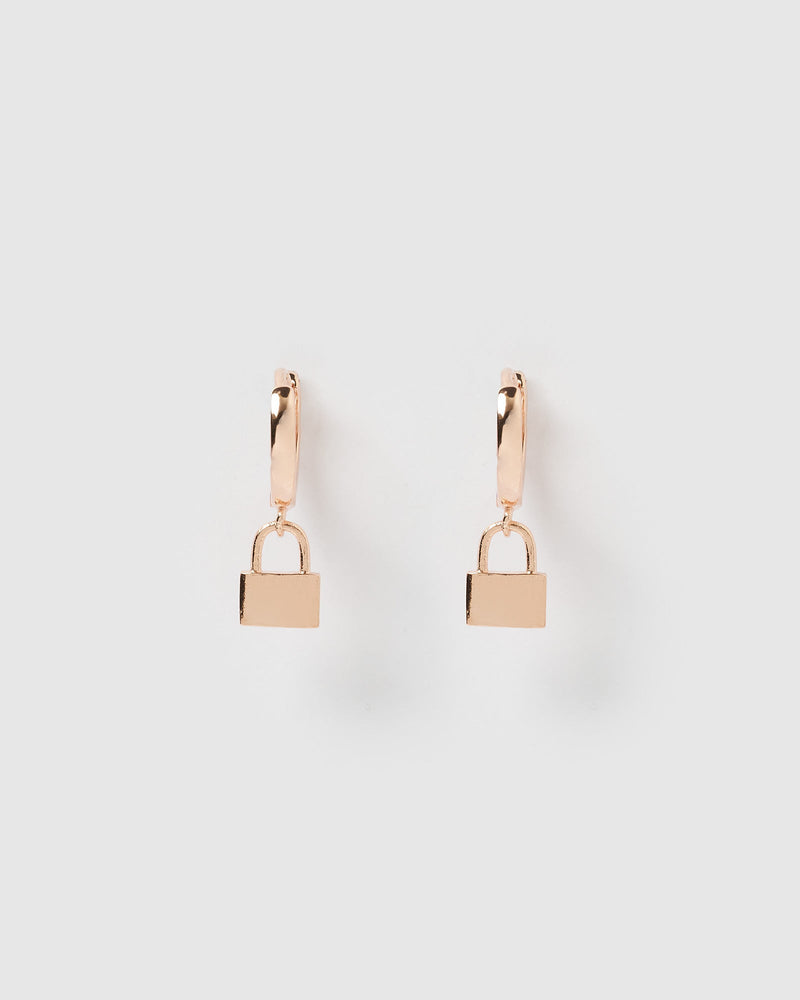 Load image into Gallery viewer, Izoa Padlock Huggie Earrings Rose Gold
