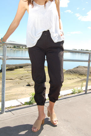 Load image into Gallery viewer, Refuge Black Ladies Chino Pant w/ Elastic Waistband *NEW*