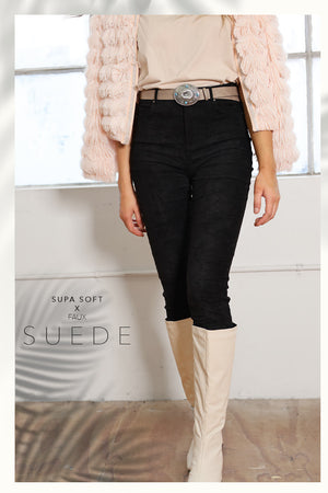 Load image into Gallery viewer, Refuge Black Faux Suede Skinny Leg Jean