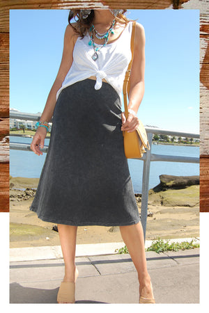 Refuge Washed Back Black Vintage Skirt