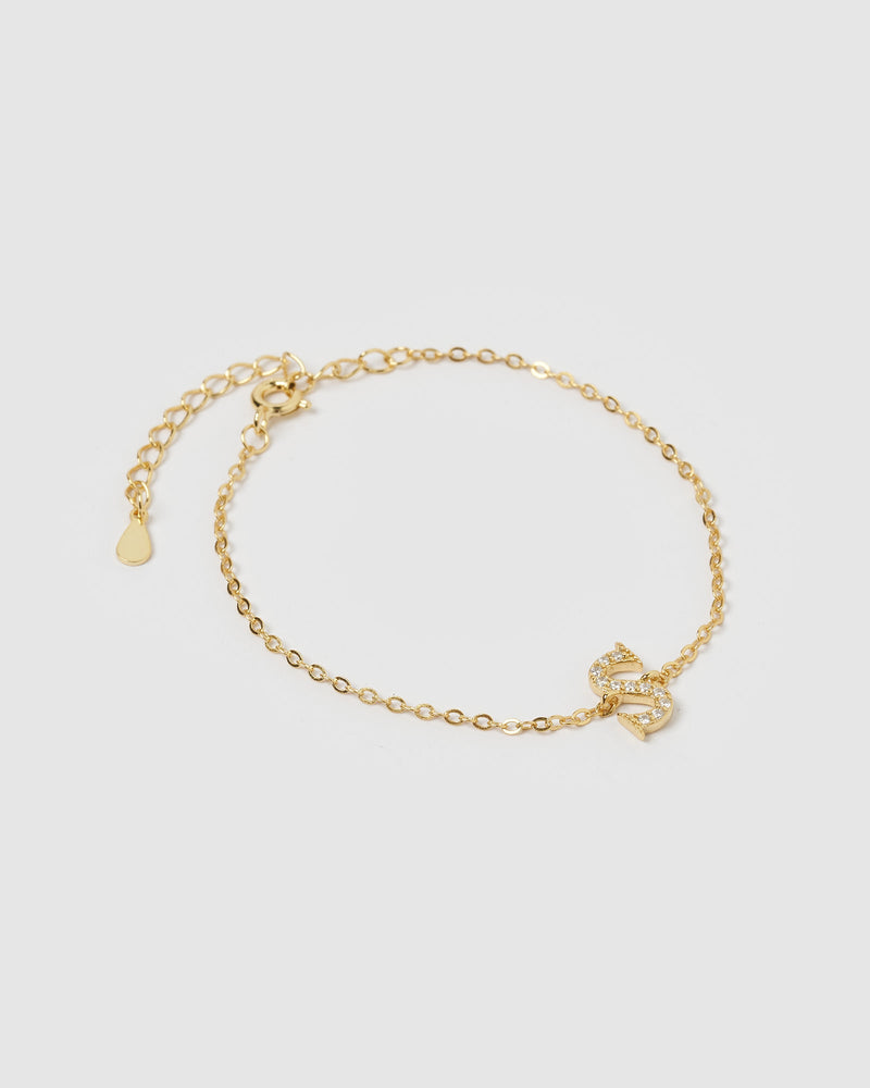 Load image into Gallery viewer, Izoa Crystal Letter S Bracelet Gold