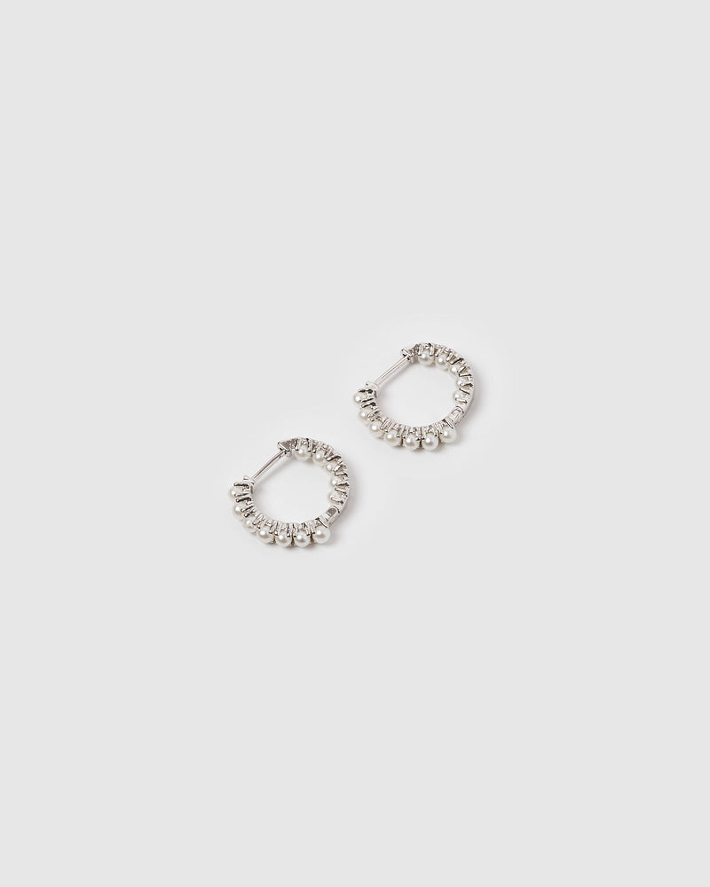 Load image into Gallery viewer, Izoa Talita Huggie Earrings Silver Pearl