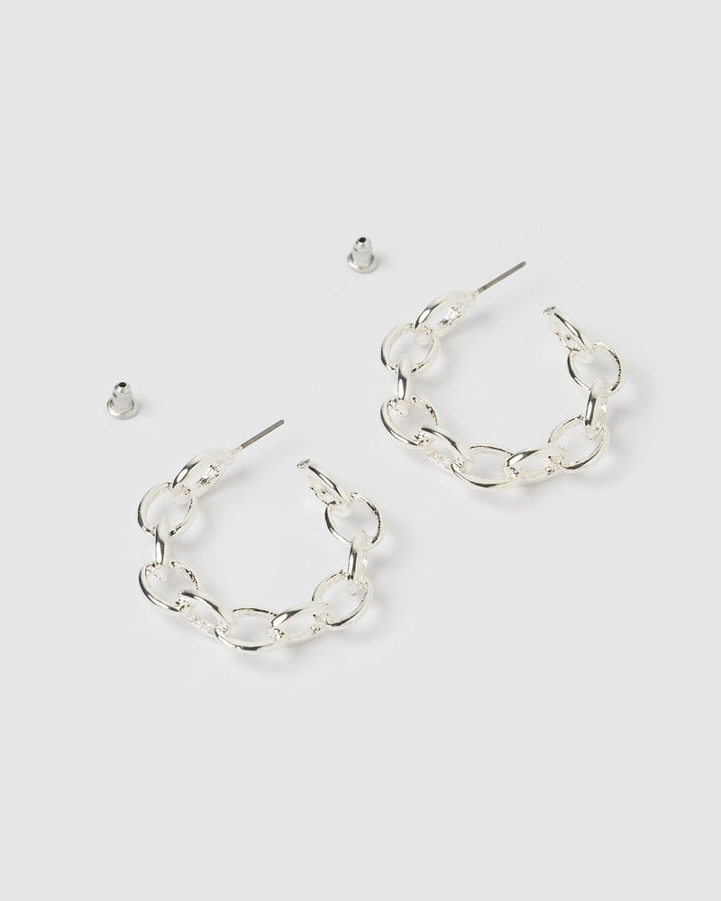 Load image into Gallery viewer, Izoa Tiki Chain Hoop Earrings Silver
