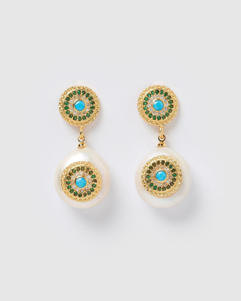 Load image into Gallery viewer, Miz Casa & Co Veronica Pearl Pendant Earrings Gold Emerald