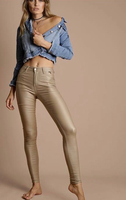 Taupe Oil Rigger 7/8 Jean - Refuge High Rise Waist (Rubber Sheen) SIZE 7-16 Limited Edition
