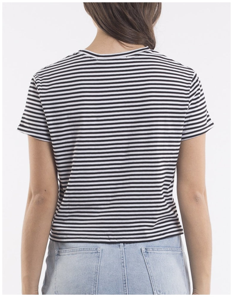 Load image into Gallery viewer, Silent Theory Twined Tee Black White Stripe (Twist Knot) Tops